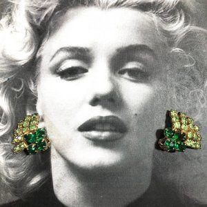 Vintage 60's two tone green rhinestone earrings
